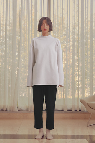 Mock Neck Long Sleeve T-shirt Ivory