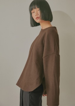 relaxable knit pullover brown